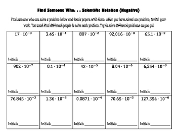 Scientific Notation - Find Someone Who