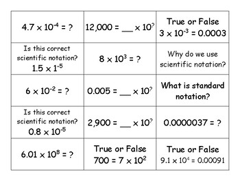 Scientific Notation Flashcards (VA SOL 7.1b)