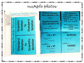 Scientific Notation Flippable (foldable) and Practice Problems