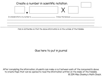 Math TEKS 8.2C:  Scientific Notation Foldable