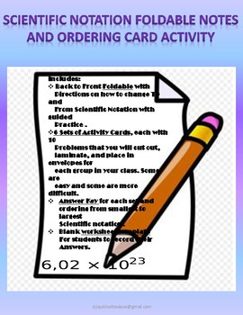 Scientific Notation Foldable And Ordering Card Activity