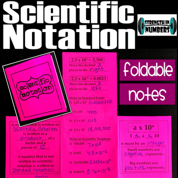 Scientific Notation Foldable Notes Interactive Notebook