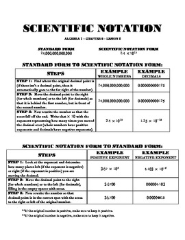 Scientific Notation Graphic Organizer