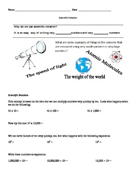 Scientific Notation Guided Notes and Practice