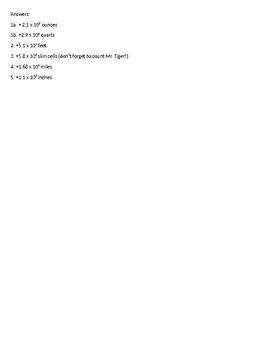 Scientific Notation Higher Order Thinking Word Problems Gross Body Facts