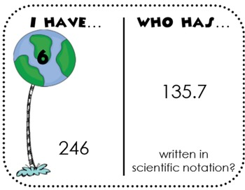 Scientific Notation I Have Who Has Game
