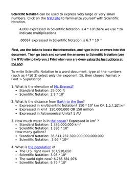 Scientific Notation Internet Scavenger Hunt