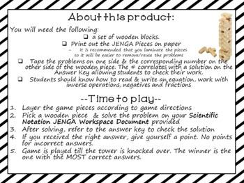 Scientific Notation Game Jenga