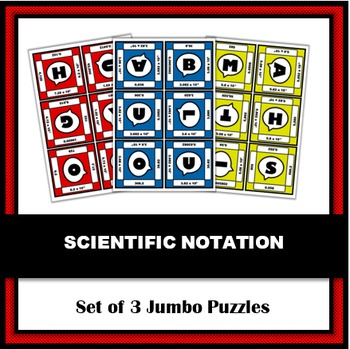 Scientific Notation Jumbo Puzzles - Set of 3 | A Math or Science Activity