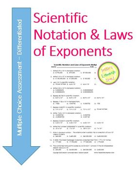 Scientific Notation & Laws of Exp - 50 Question Assess/Worksheet DIFFERENTIATED
