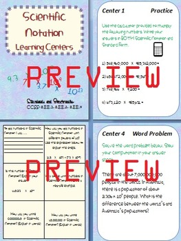 Scientific Notation Learning Centers (Common Core Aligned)