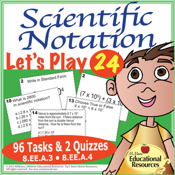 Scientific Notation - Let's Play 24 Challenge - Task Cards, Quizzes, & More!