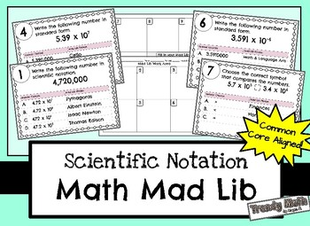 Scientific Notation Mad Lib