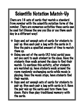 Scientific Notation Match-Up Activity