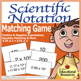 Scientific Notation - Matching Game Fun for Math Stations or Centers!