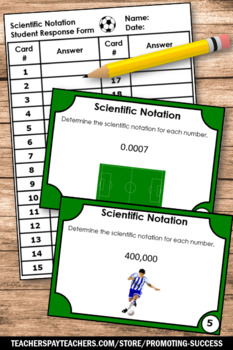 Scientific Notation Task Cards, 7th 8th Grade Math Review Games, SCOOT