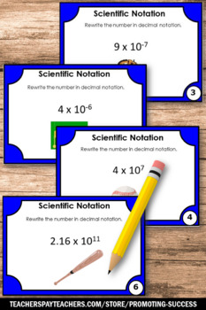 Scientific Notation Activities, Decimal Notation, 7th Grade Math Review Games