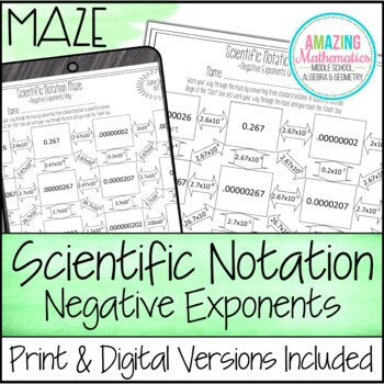 Scientific Notation Maze ~ Negative Exponents