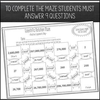 Scientific Notation Maze Positive Exponents By Amazing Mathematics