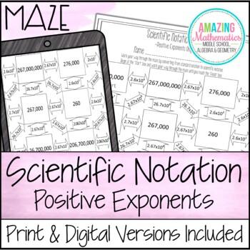 Scientific Notation Maze ~ Positive Exponents