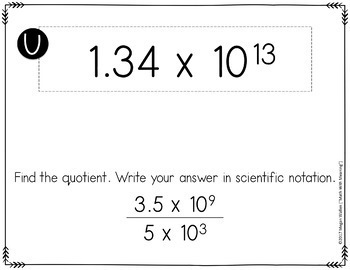 Scientific Notation Multiplication & Division Scavenger Hunt - CCSS 8.EE.A.4