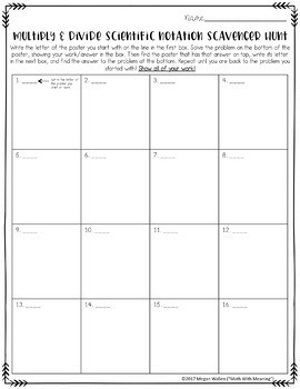 Scientific Notation Multiplication & Division Scavenger Hunt - CCSS 8.EE.A.4