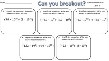 Scientific Notation (Multiplication) – Two Breakout Activities!