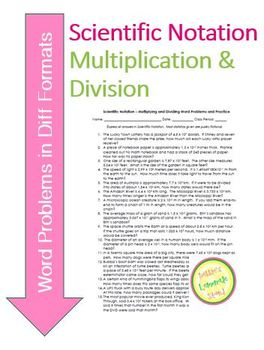 Scientific Notation - Multiplying and Dividing Practice & Task Cards