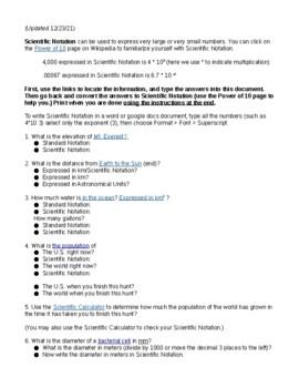 Updated Scientific Notation Scavenger Hunt