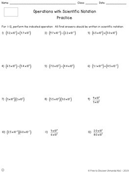 Scientific Notation Operations Notes and Practice (Differentiated)