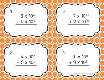 Scientific Notation Operations Task Cards