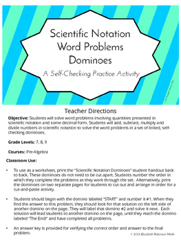 Scientific Notation Operations Word Problems - Dominoes