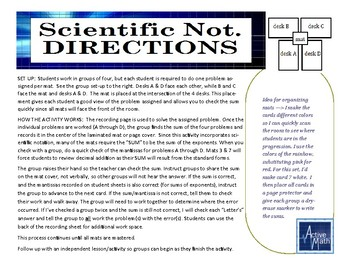 Scientific Notation Placemat Activity