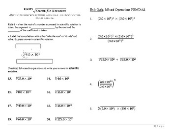 Scientific Notation ~ Powers and Roots ~ Worksheet