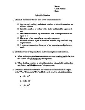 Scientific Notation Practice