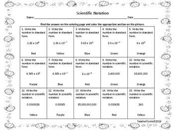 Scientific Notation Pumpkin Coloring Sheet