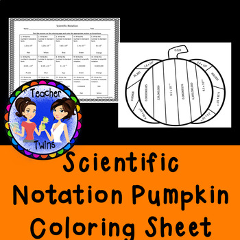 Scientific Notation Pumpkin Coloring Sheet