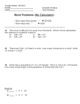 Scientific Notation QUIZ and 2 worksheets NO CALC