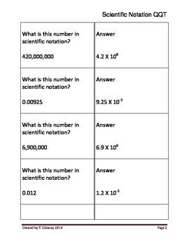 Scientific Notation Quiz-Quiz-Trade or Showdown (+ and - Exponents)