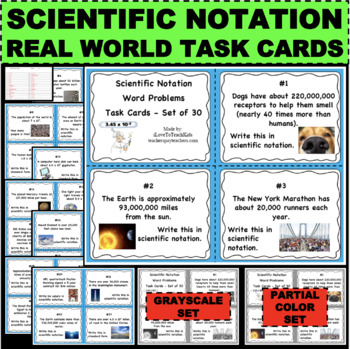 Scientific Notation Real World Math Word Problems Task Flash Cards