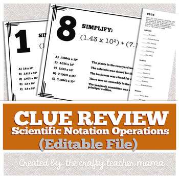 Scientific Notation Review: Clue Game Walk Around Activity (EDITABLE FILE)