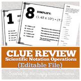 Scientific Notation Review: Clue Game Walk Around Activity