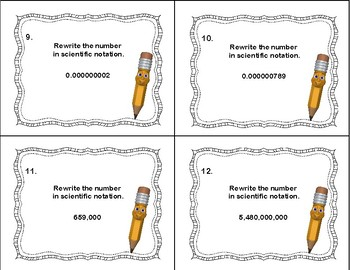 Scientific Notation -Rewrite the Number -40 Task Cards