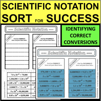 Scientific Notation SORT FOR SUCCESS Correct & Incorrect Conversions Activity