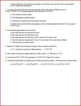 Scientific Notation Spring 2013 (Editable)