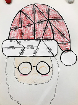 Scientific Notation & Standard Form Christmas Santa Hat Puzzle