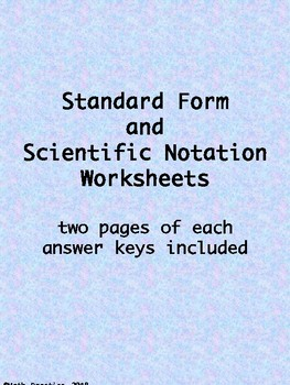 Scientific Notation / Standard Form Worksheets