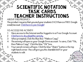 Scientific Notation &Standard Notation Task Cards w/QR Codes GOOGLE Slide