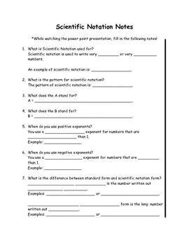 Scientific Notation Guided Student Notes