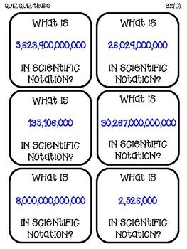Scientific Notation (TEKS 8.2C) Quiz-Quiz-Trade